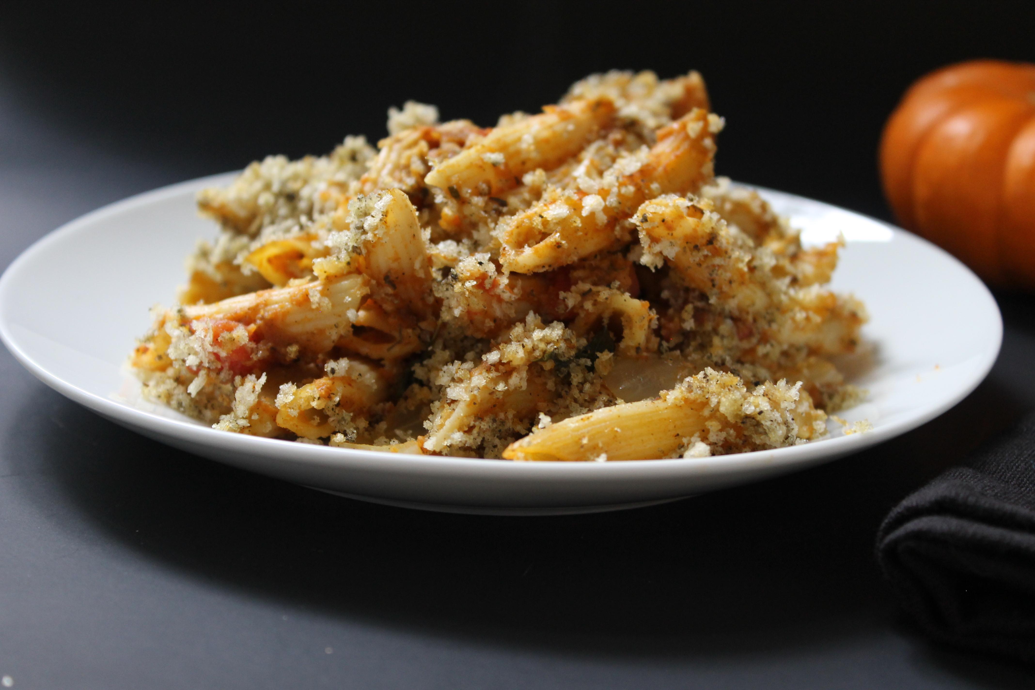 YUMMY!!! Vegan Baked Pumpkin Pasta! #vegan #plantbased #dinner #pasta #recipe #food