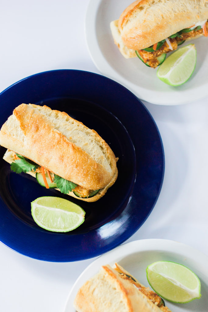 Vegan Vietnamese Banh Mi fried tofu sandwiches.