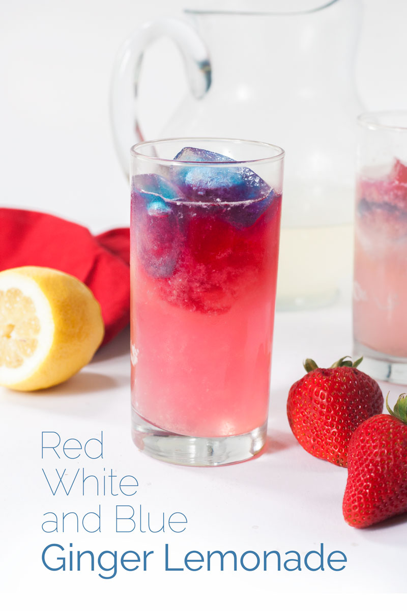 Red, White, and Blue Ginger Lemonade is the perfect refreshing summer drink to serve at your Fourth of July celebration. #lemonade #summerrecipe #fourthofjuly #bearplate | bearplate.com