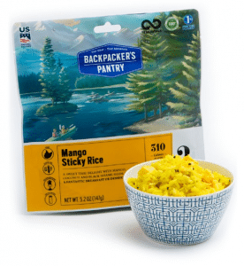Freeze-dried mango sticky rice from Backpacker's Pantry