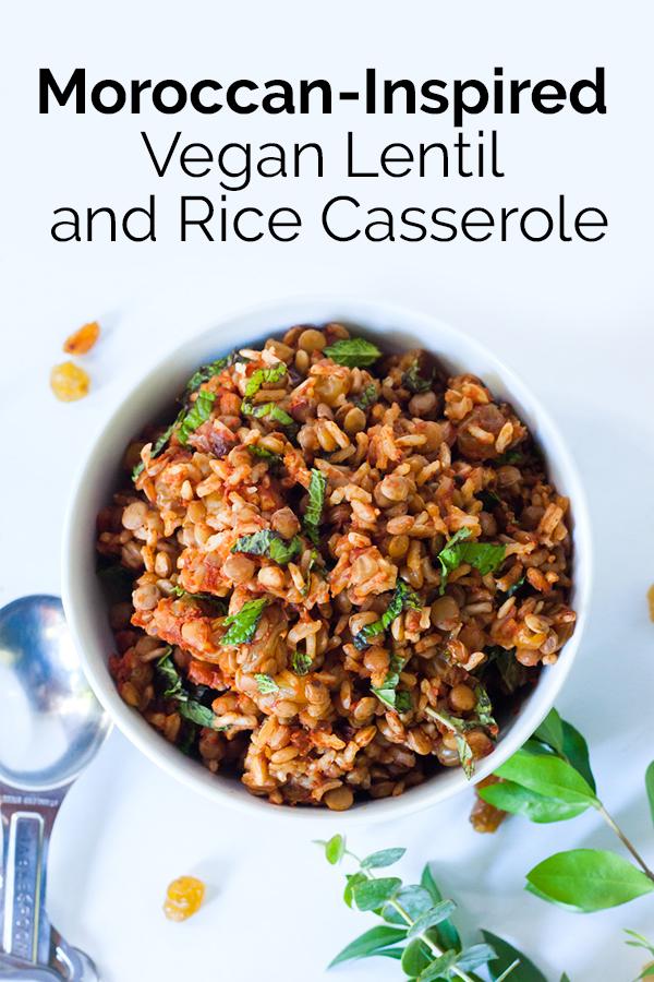 This Moroccan-Inspired Vegan Lentil and Rice Casserole is a super easy and tasty dinner.  #vegandinner #budgetmeal #foodprep #bearplate #easyvegan
