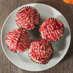 Vegan zombie brain cupcakes on a white plate. A great Halloween treat recipe.