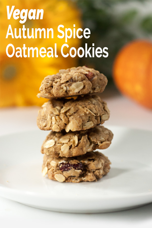 Easy, chewy, vegan oatmeal cookies full of ginger, cranberries, pumpkin pie spice, and pecans. Perfect for cold fall days