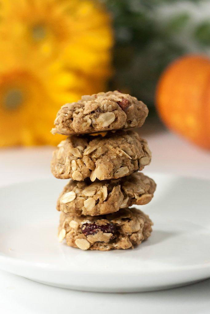 A stack of fall spiced oatmeal cookies.