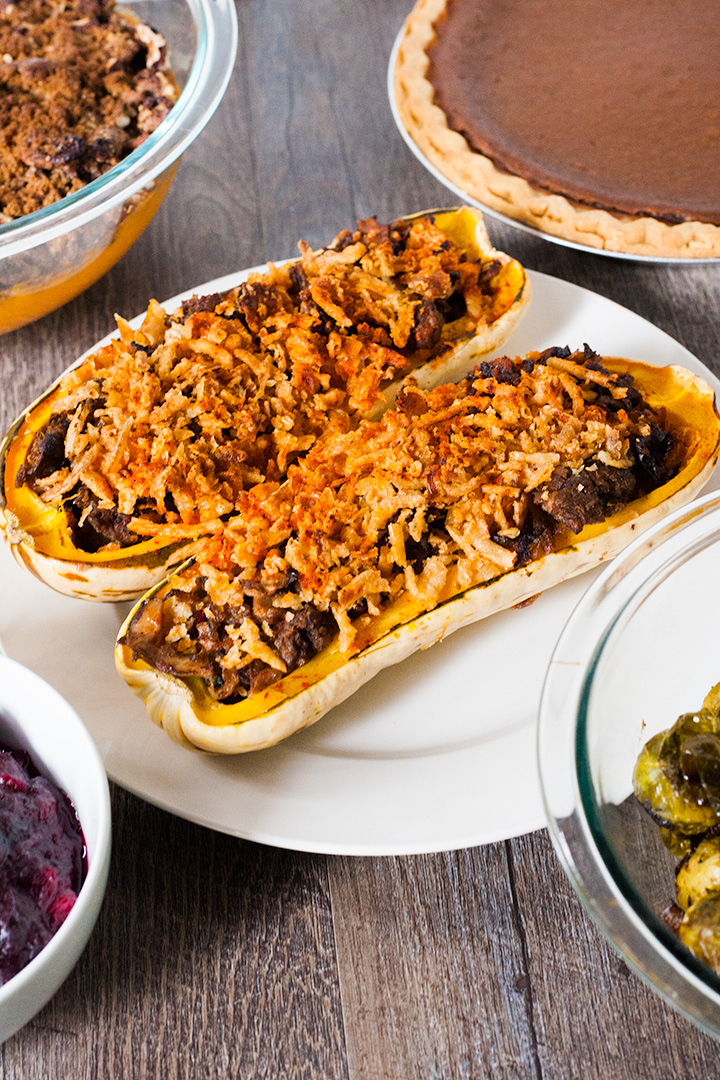 Thanksgiving Stuffed Vegan Delicata Squash.