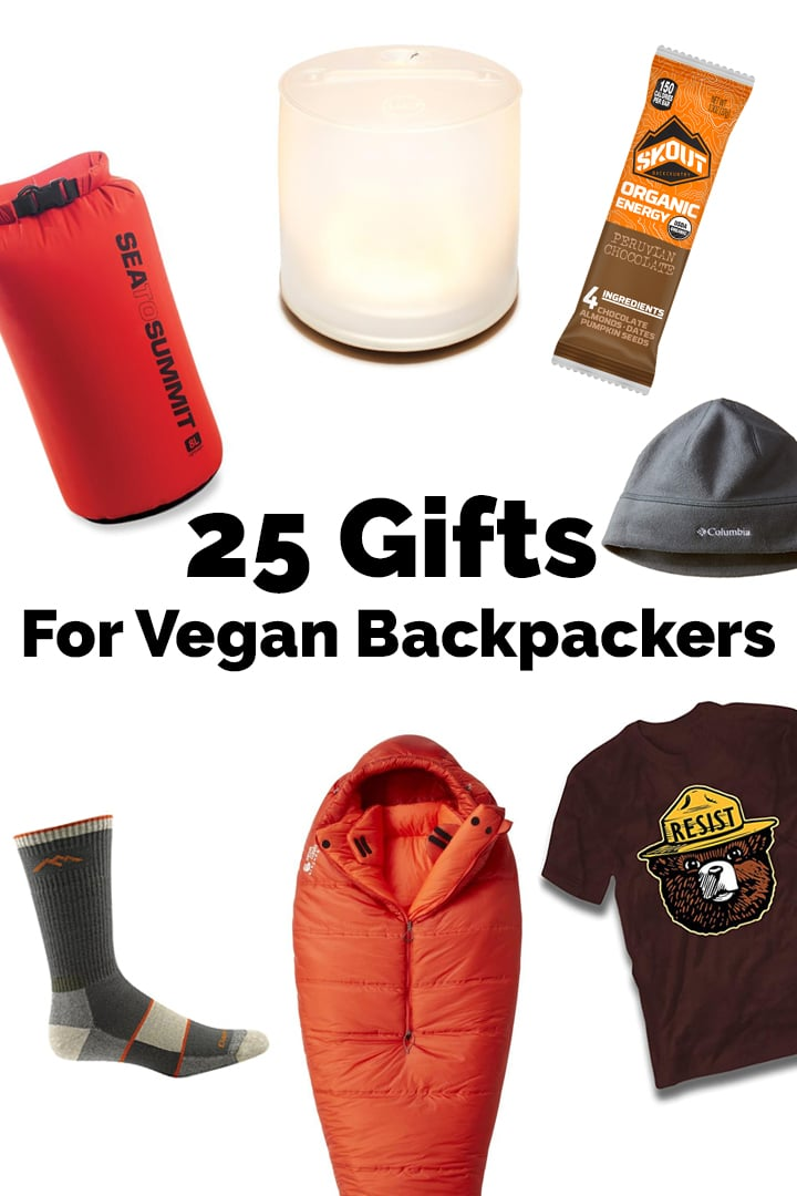 25 Gift For Vegan Backpackers! Backpacking gear, gadgets, and cruelty- free apparel for the special backpacker in your life. #vegan #backpacking