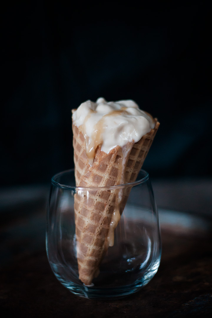 Vegan Salted Caramel and Baileys Ice Cream in a cone.