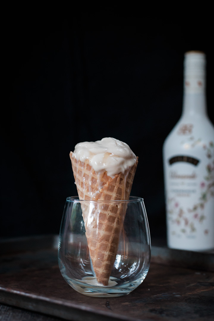 Vegan Salted Caramel and Baileys Ice Cream in a cone