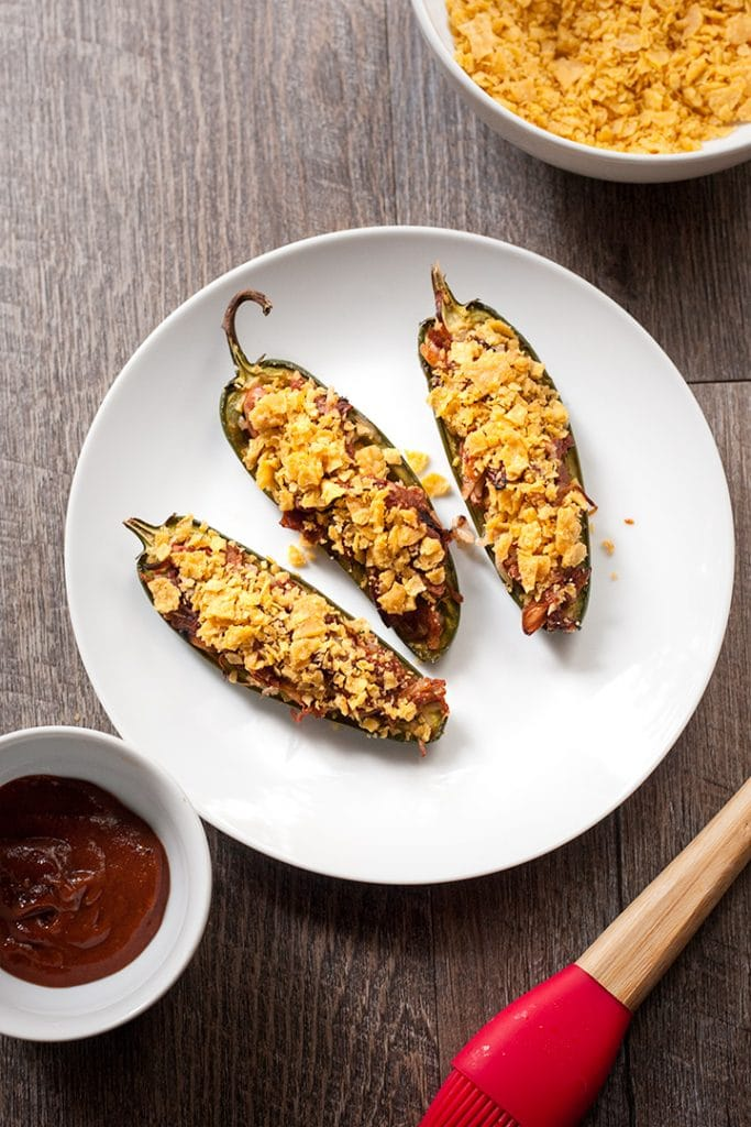 Super bowl party food: smokey Vegan BBQ Pulled Jackfruit Jalapeno Poppers
