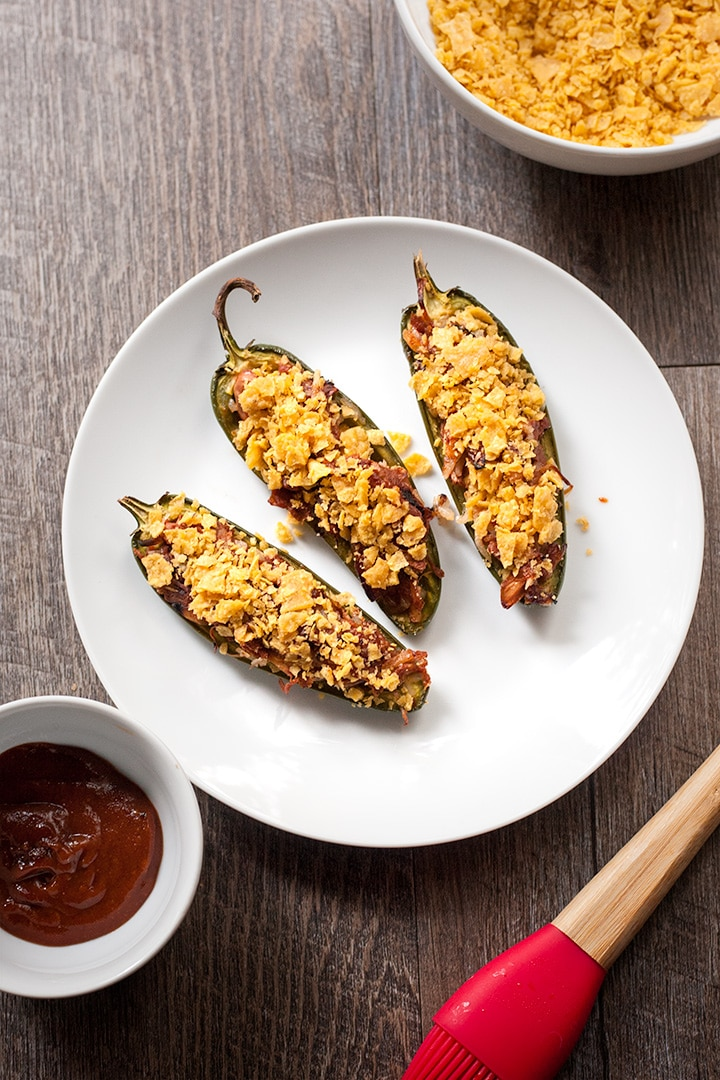 BBQ Pulled Jackfruit Jalapeno Poppers are perfect for your Super Bowl party! They're easy to make and incredibly tasty. Vegan   Gluten-free