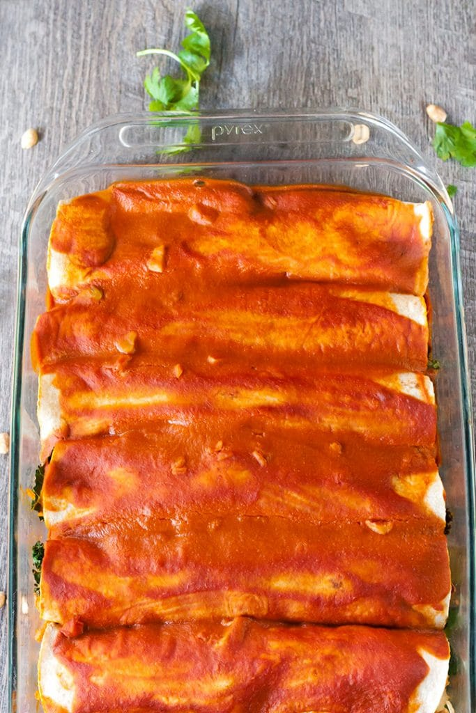 Vegan Sweet Potato And Peanut Enchiladas.
