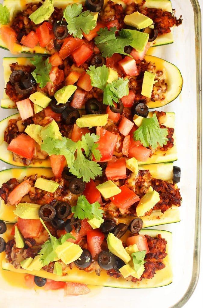 Gluten-free Mexican-Style Stuffed Zucchini Boats