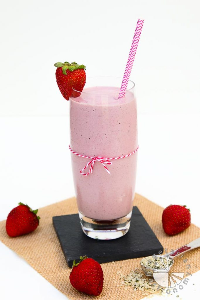 Vegan 31 Day Whole Food Meal Plan - Strawberry Hemp Milkshake