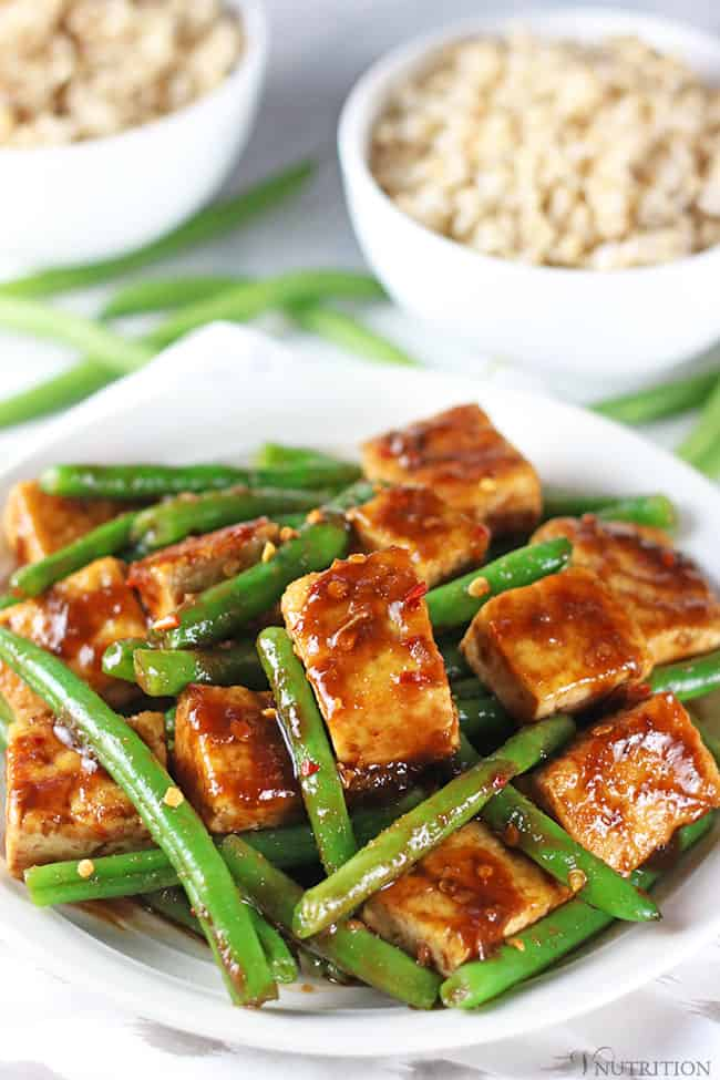vegan meal plan dinner: Simple Tofu Green Bean Stir Fry from V Nutrition