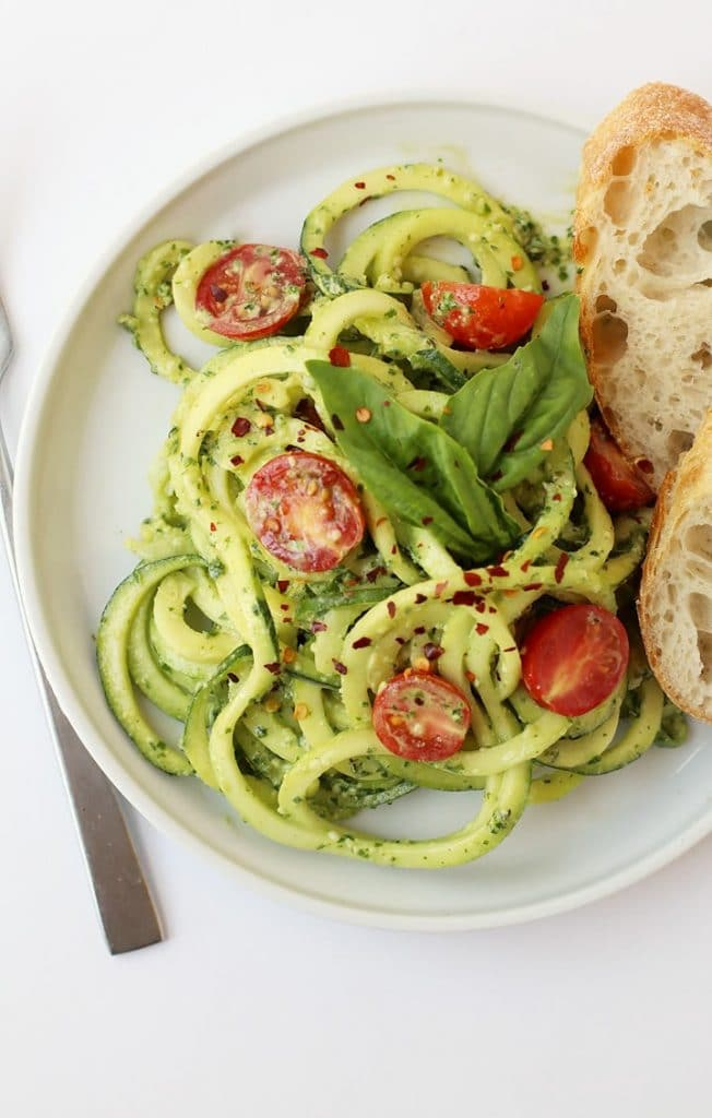 Tasty grain free Zucchini Noodles with Pesto from My Darling Vegan food blog