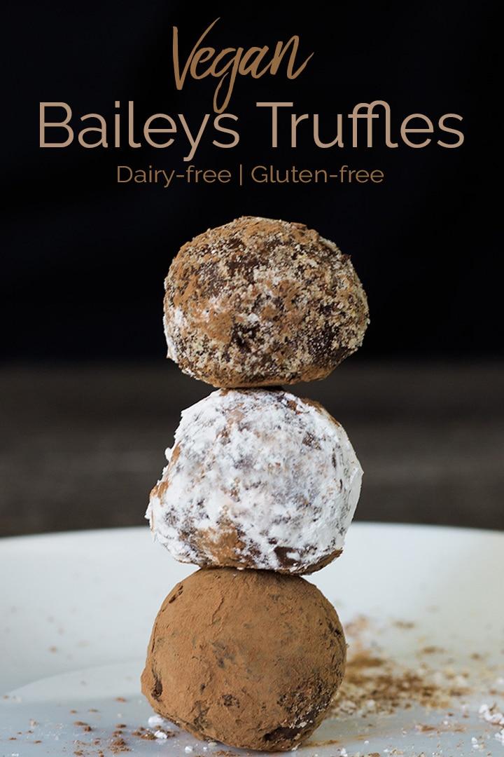 Vegan Baileys Truffles are an easy and rich chocolate treat made with Almande Almondmilk liqueur. Gluten-free and dairy-free #vegantruffles #veganchocolate #chocolatetruffles