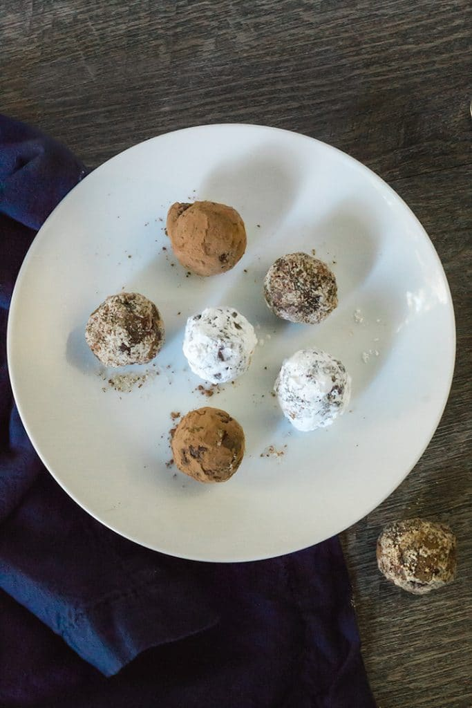 Vegan Baileys Truffles on a white plate