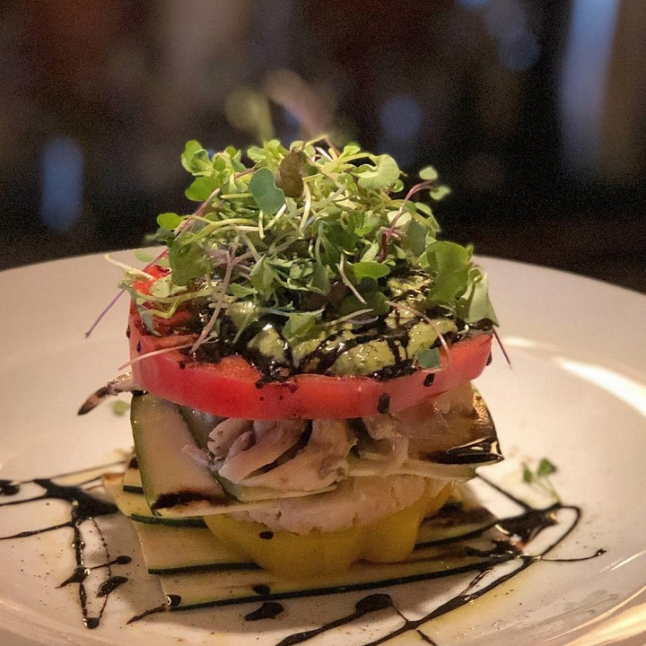 Live Heirloom Tomato and Zucchini Lasagne from Candle 79 in New York
