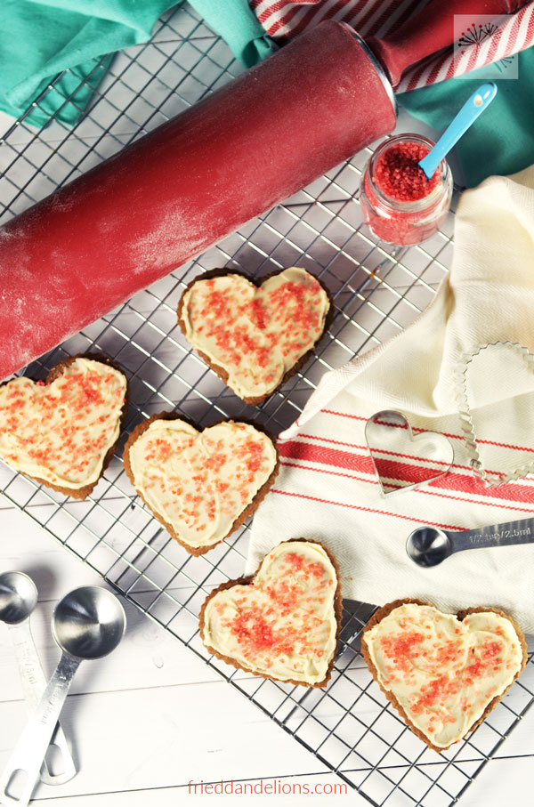 Heart shaped spiced sugar cookies.