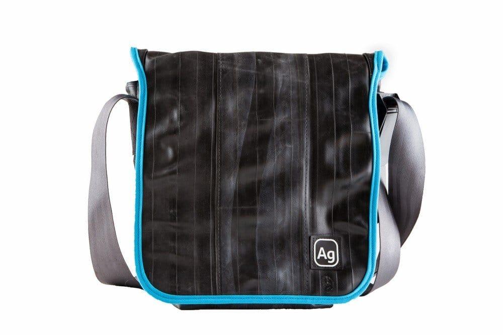 Bicycle inner tube messenger bag.