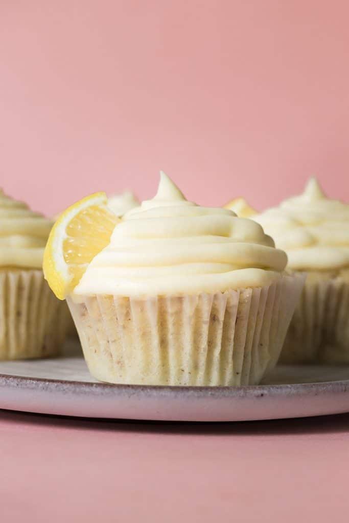Close up of a vegan lemon cupcake