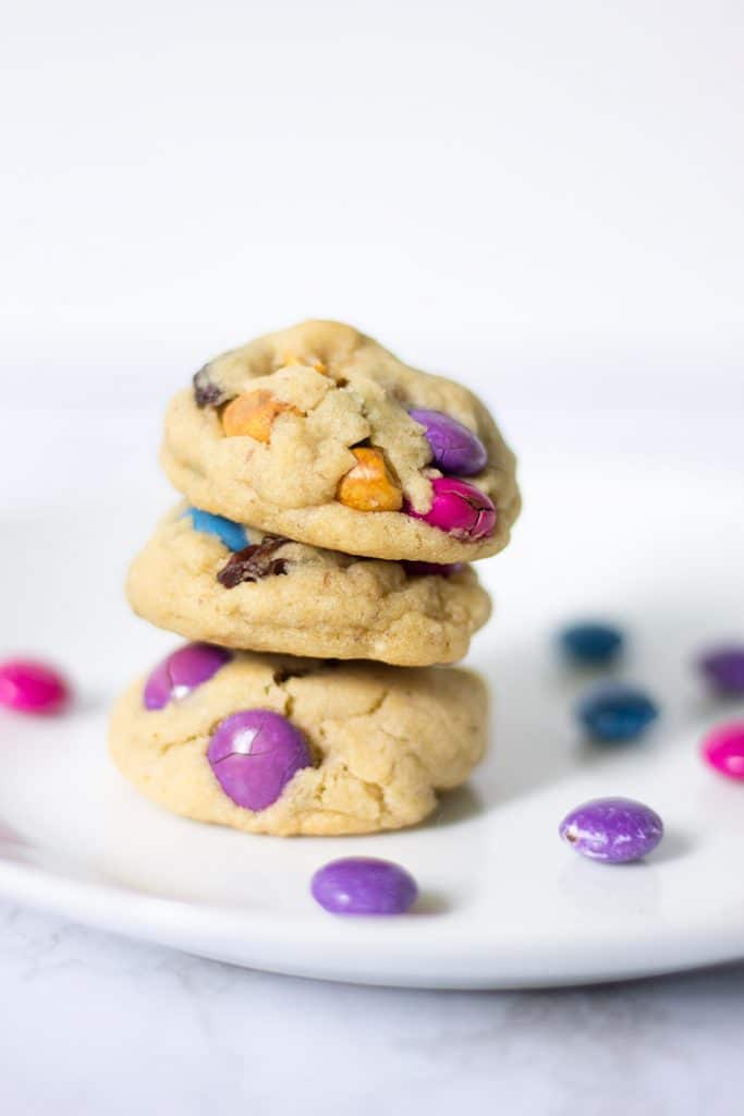 A stack of trail mix cookies.