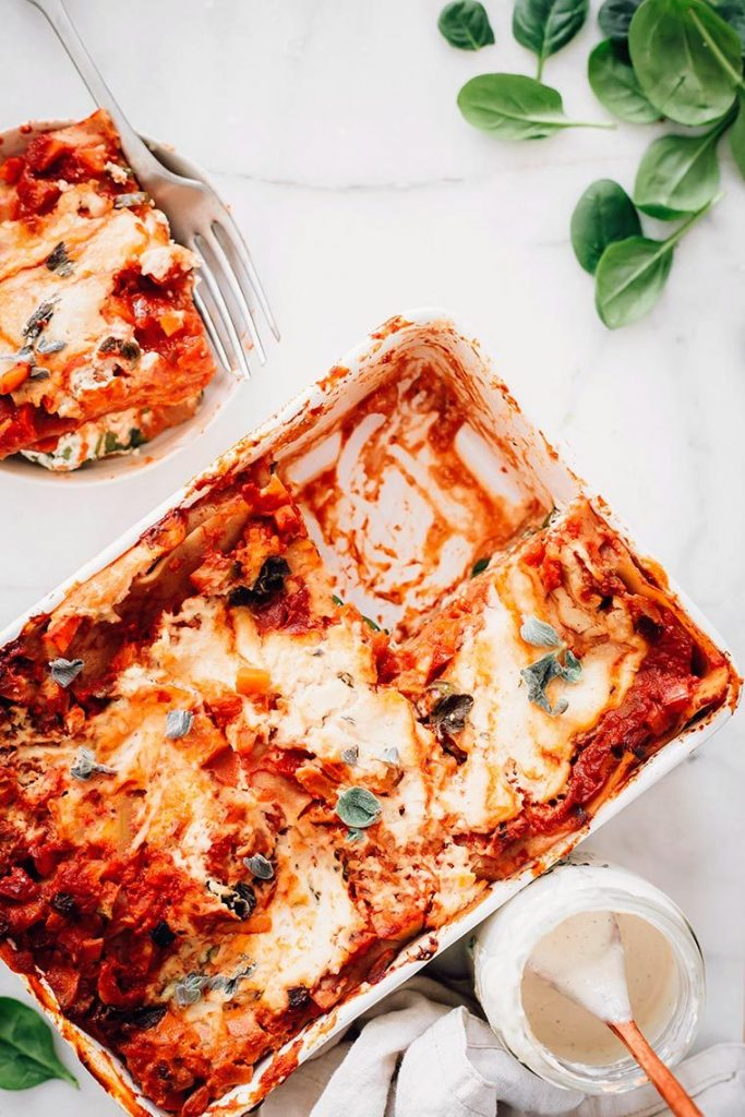 A pan of vegan lasagna.