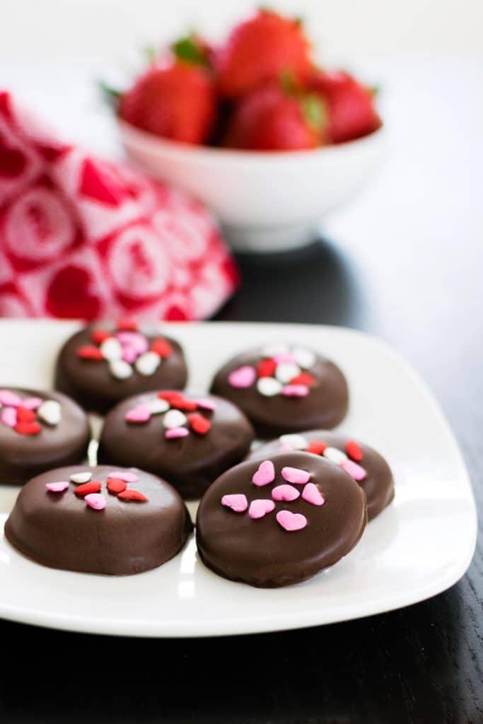 vegan valentine's day recipes: Chocolate covered strawberry patties.