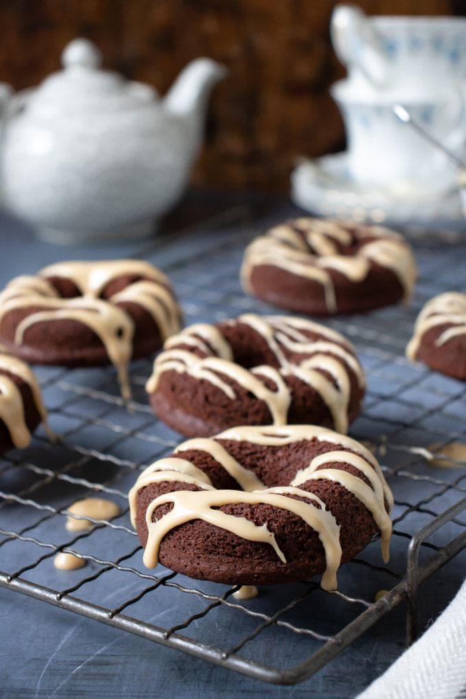 Chocolate earl grey donuts