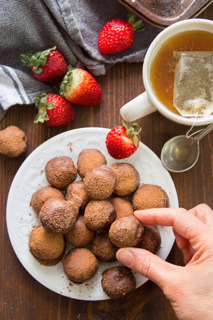 A pile of vegan truffles.